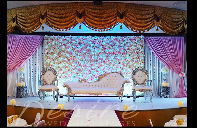 Floral Wedding Stage With Chaise Longue