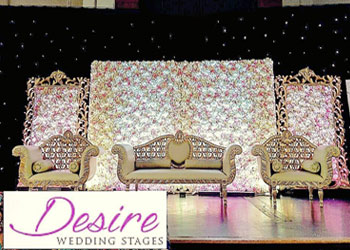An Asian gold wedding themed wedding stage